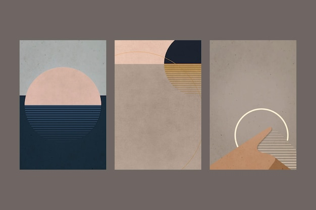 Retro color landscapes minimalist vintage poster style set