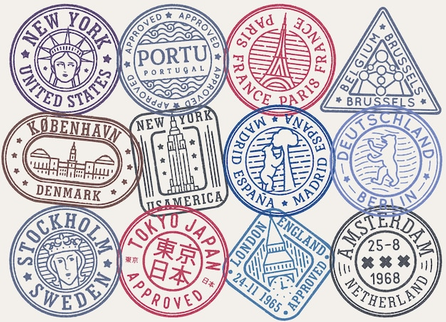 Retro color postal stamps vector collection