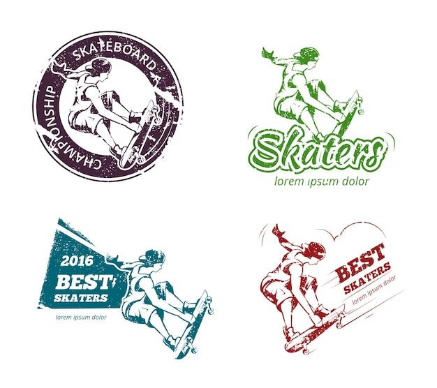 Set di etichette, loghi e adesivi per skateboard a colori retrò. emblema stampa distintivo, urbano estremo. illustrazione vettoriale