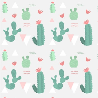 Retro colored different cactus plants pattern