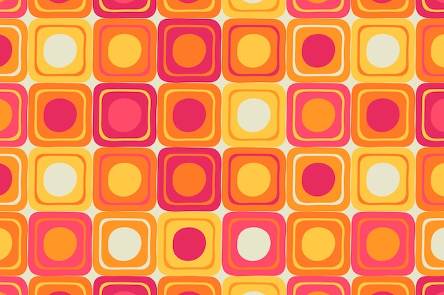 レトロなカラフルな背景、幾何学的な正方形の形のベクトル