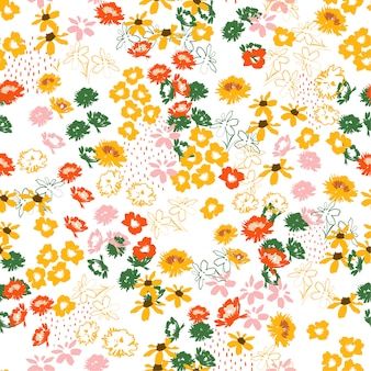 Retro colorful flowery colorful pattern in small-scale flowers. liberty style