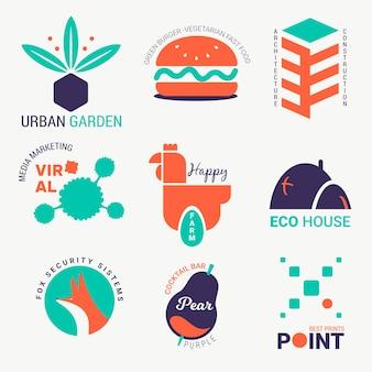 Retro colorful minimal logo collection