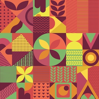 Retro colorful pattern abstract geomatric shape