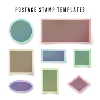 Retro colorful postal stamp template with shadow