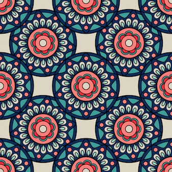 Retro colors boho hand drawn seamless background
