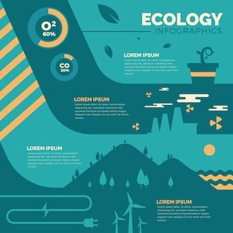 Retro colors flat ecology infographic