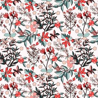 Retro colors floral seamless botanical pattern
