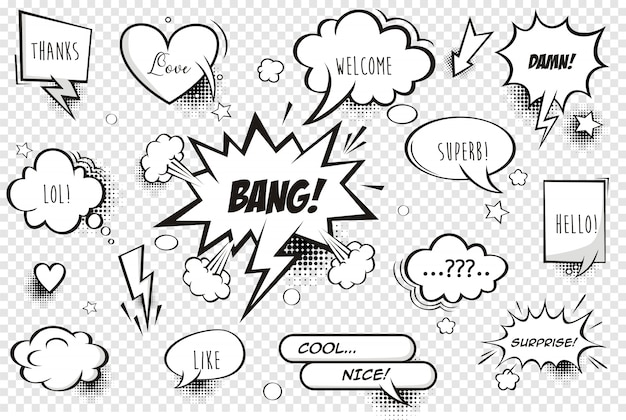 Retro comic bubbles and elements set with black halftone shadows