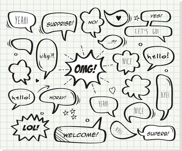 Retro comic bubbles and elements set with paper