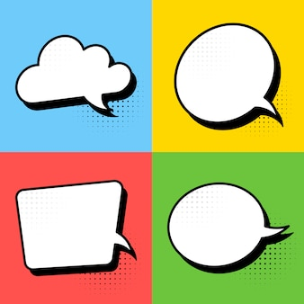 Retro comic empty speech bubbles