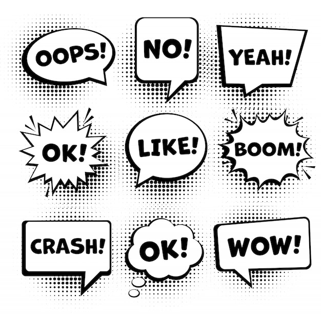 Retro comic speech bubbles set. empty comic speech bubbles set 9 in 1. vector