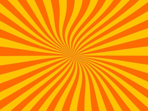 レトロなコミックの黄色とオレンジ色の背景。ヴィンテージポップアートスタイル。