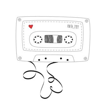 レトロなコンパクトテープカセット。白い背景で隔離の落書きスタイルのビンテージオーディオカセットテープ。 webバナー、広告、ステッカー、ラベル、tシャツのベクトルの黒と白のイラスト