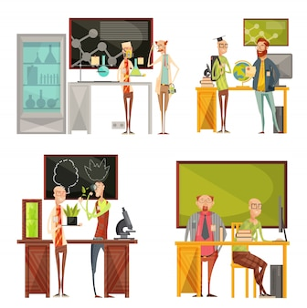 Retro compositions with talking teachers of chemistry, biology, geography near desk and blackboard isolated vector illustration