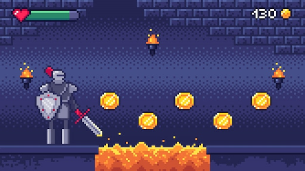 Retro computer games level. pixel art video game scene 8 bit warrior character collects gold coins, pixels gaming illustration