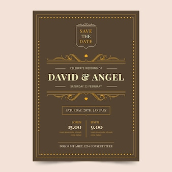 Retro concept for wedding invitation template