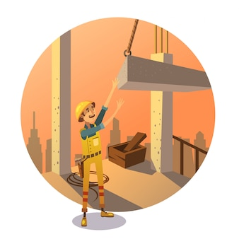 Retro construction cartoon