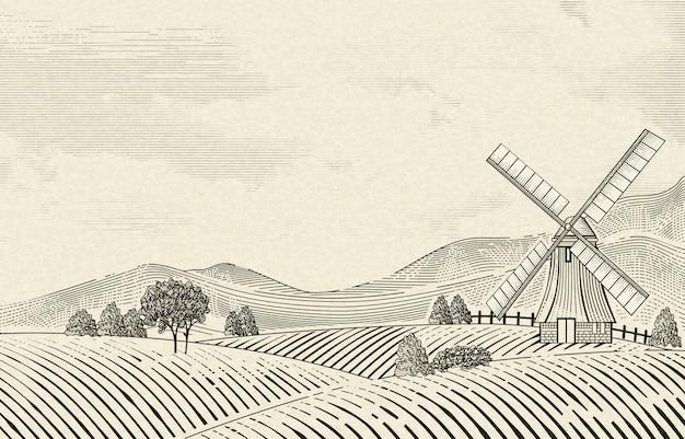 ベージュの背景にシェーディングスタイルをエッチングするレトロな田園風景、フィールド、風車の要素