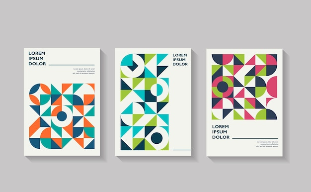Retro covers for annual report brochure vintage shape compositions in bauhaus style