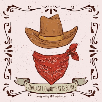 Retro cappello da cowboy e sciarpa