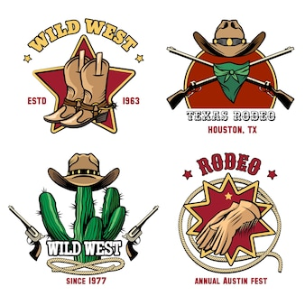 Retro cowboy rodeo emblem set. hat and american badge western.