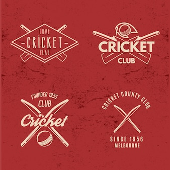 Retro cricket logos collection.
