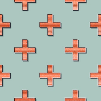 Retro crosses pattern, abstract geometric background in 80s, 90s style. geometrical simple illustration