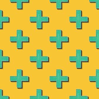 レトロな十字のパターン、80年代、90年代のスタイルの抽象的な幾何学的な背景。幾何学的な簡単な図