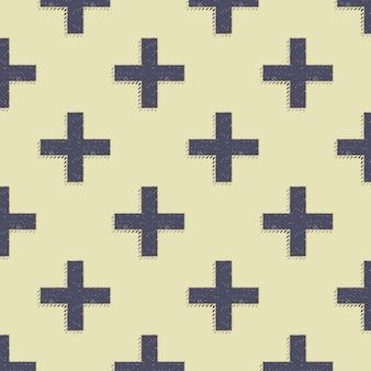 레트로 십자가 패턴입니다. 80년대, 90년대 스타일 이미지의 추상적인 기하학적 배경. 기하학적 간단한 그림