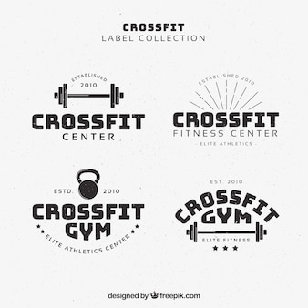 Retro crossfit stickers pack