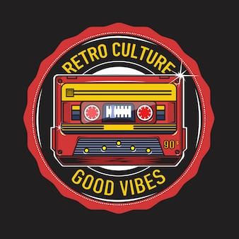 Retro culture with tape cassette illustration