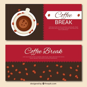 레트로 컵 배너와 커피 콩