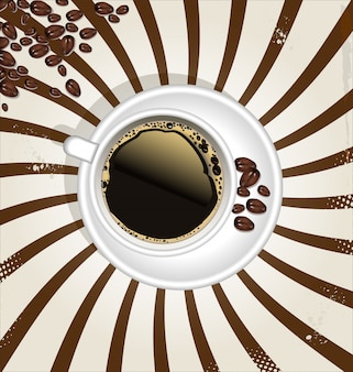 Retro cup of coffee background