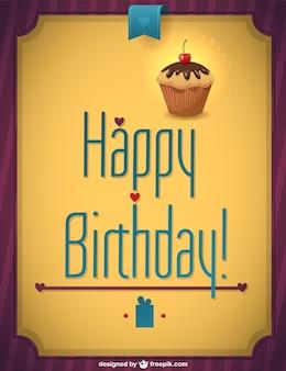 Retro cupcake buon compleanno vettore