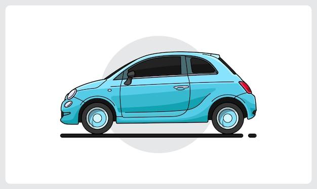 레트로 귀여운 자동차 측면 보기 쉽게 편집 가능