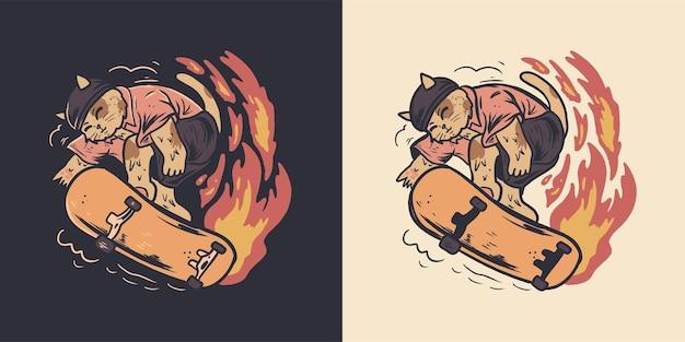 레트로 귀여운 고양이 스케이트 보드 그림