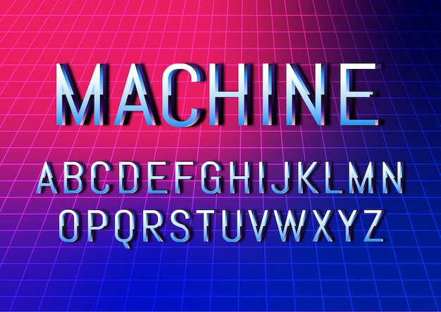 Retro cyber technology font alphabet set