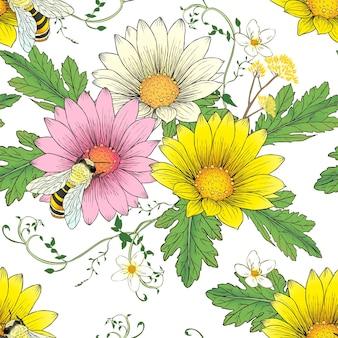白い背景の上の蜂のシームレスなパターンとレトロなデイジー