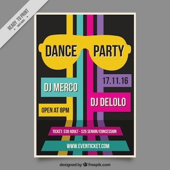 Retro dance party flyer