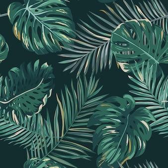 레트로 어두운 야자수 잎 배경 무늬, 벽지, 인쇄, 브로셔, 디자인을 위한 벡터의 열대 정글 그림 질감