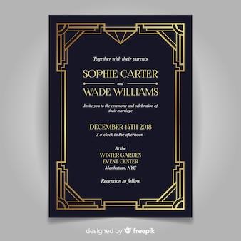 Retro dark wedding invitation template in art deco style