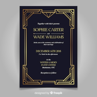 Retro dark wedding invitation template in art deco style