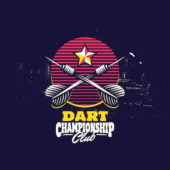 Retro darts badge logo
