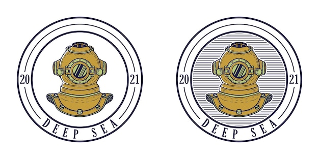 Retro deep sea logo design with diving helmet illustration