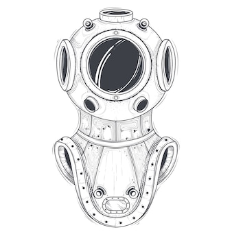 Retro deep sea scuba equipment line art vector