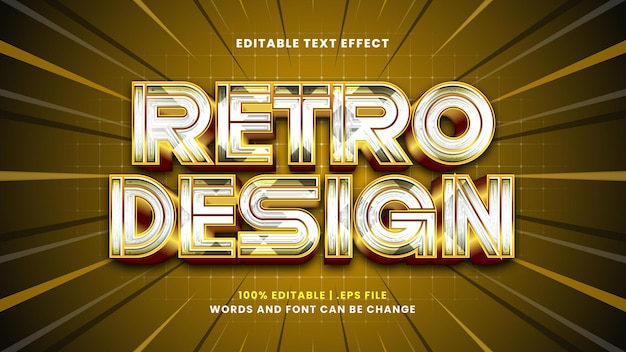 Retro design editable text effect in modern 3d style