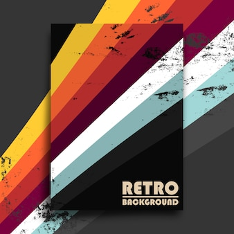 Retro design poster with vintage grunge texture and colorful stripes. illustration
