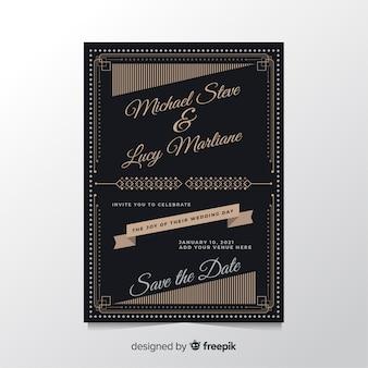 Retro design wedding invitation template