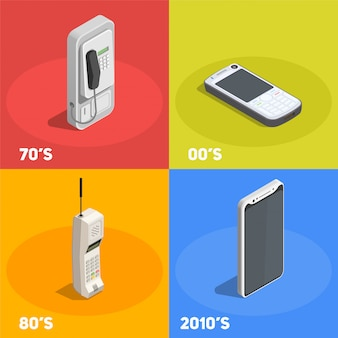 Retro devices 2x2 design concept with telephones from various decades isolated on colorful  3d